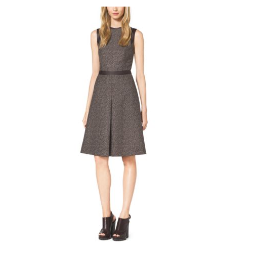 MICHAEL KORS COLLECTION Herringbone Jacquard Leather-Trim Dress CHOCOLATE COMBO