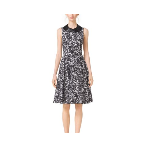 MICHAEL KORS COLLECTION Abstract Dot Cotton-Matelassé Dress OPTIC WHITE/BLK