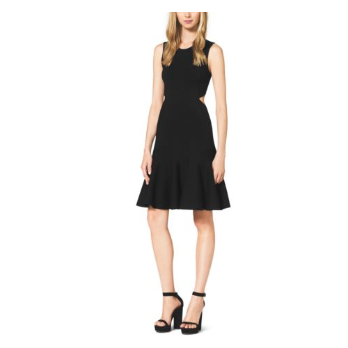 MICHAEL KORS COLLECTION Merino Wool Cutout Flare Dress BLACK