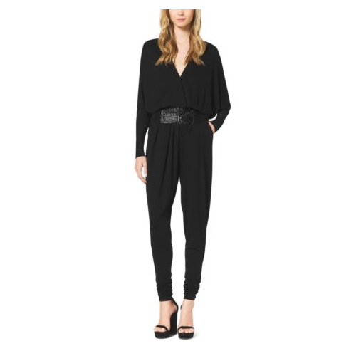 MICHAEL KORS COLLECTION Stretch-Jersey Jumpsuit With Slide Belt BLACK