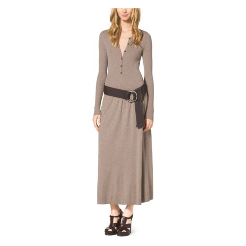 MICHAEL KORS COLLECTION Matte Stretch-Jersey Henley Dress BISON
