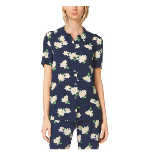MICHAEL KORS COLLECTION Camellia-Print Peter Pan-Collar Shirt INDIGO/WHITE