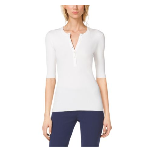 MICHAEL KORS COLLECTION Stretch-Crepe Henley WHITE