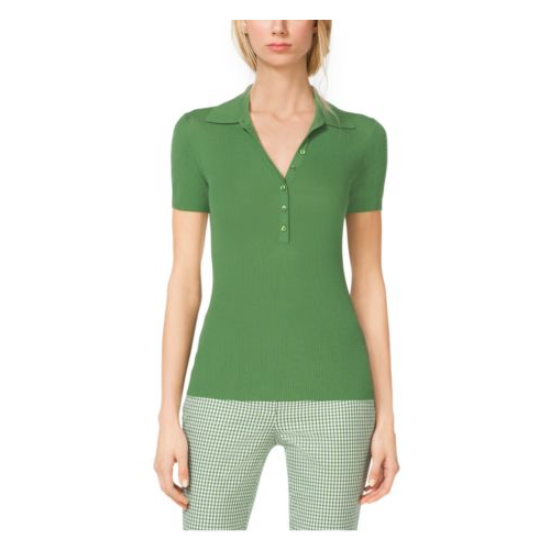 MICHAEL KORS COLLECTION Featherweight Cashmere Polo Henley LAWN