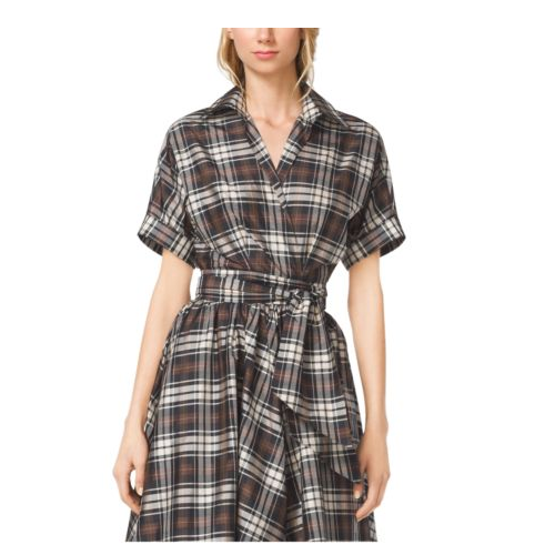 MICHAEL KORS COLLECTION Madras Silk-Taffeta Wrap Shirt BLACK/NUTMEG
