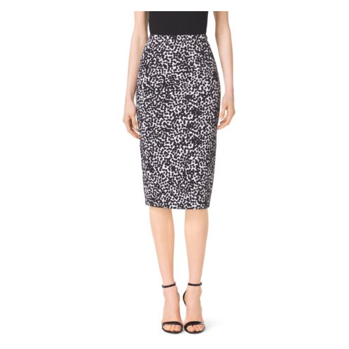 MICHAEL KORS COLLECTION Abstract Dot Matelassé Pencil Skirt OPTIC WHITE/BLK