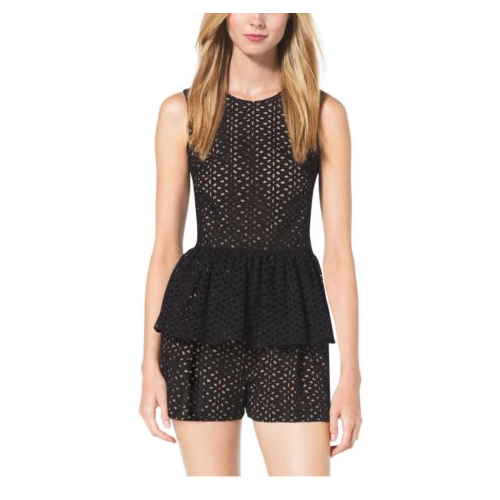 MICHAEL KORS COLLECTION Eyelet-Embroidered Silk-Jacquard Peplum Top BLACK