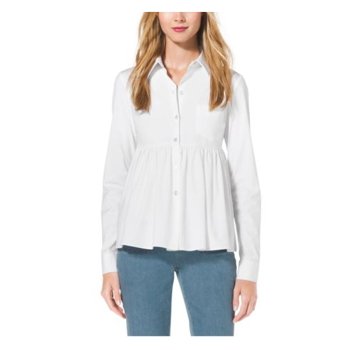 MICHAEL KORS COLLECTION Stretch-Cotton Empire-Waist Shirt OPTIC WHITE