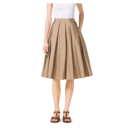 MICHAEL KORS COLLECTION Pleated Silk-Faille Skirt FAWN