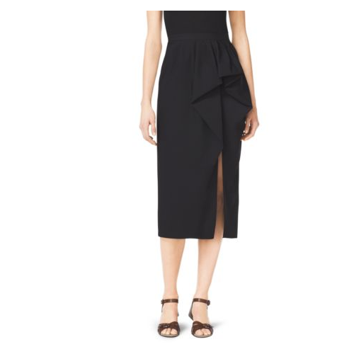 MICHAEL KORS COLLECTION Wool Gabardine Sarong Skirt BLACK