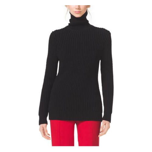 MICHAEL KORS COLLECTION Techno-Viscose Shaker Turtleneck BLACK