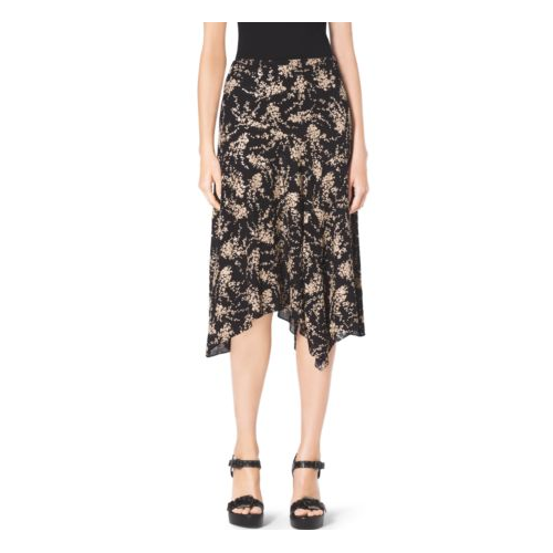 MICHAEL KORS COLLECTION Floral-Embroidered Silk-Georgette Skirt BLACK/NUDE