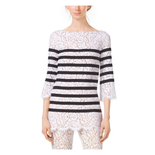 MICHAEL KORS COLLECTION Mariner Stripe Guipure Lace Tunic OPTIC WHITE
