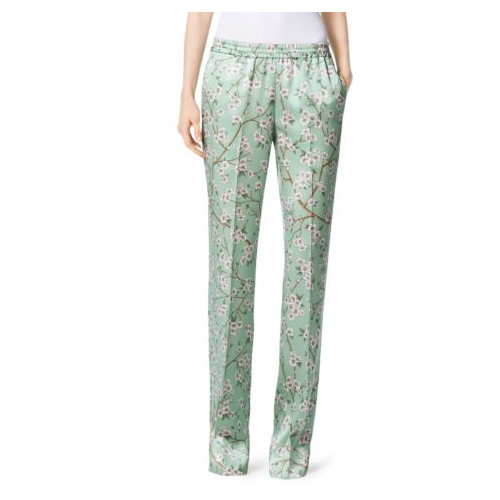 MICHAEL KORS COLLECTION Mandarin Evening Pajama Trouser MINT/WHITE