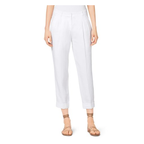 MICHAEL KORS COLLECTION Cropped Linen Gabardine Trousers OPTIC WHITE