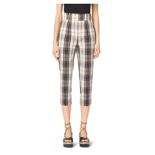 MICHAEL KORS COLLECTION Madras Cotton-Canvas Capri Trousers BLACK/MUSLIN