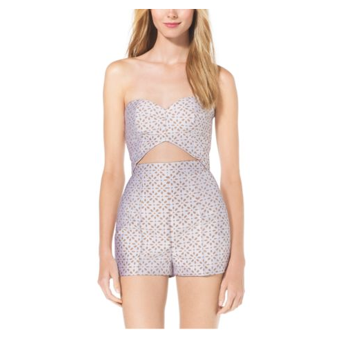 MICHAEL KORS COLLECTION Cutout Bustier Eyelet Silk-Jacquard Romper SUN/WHITE