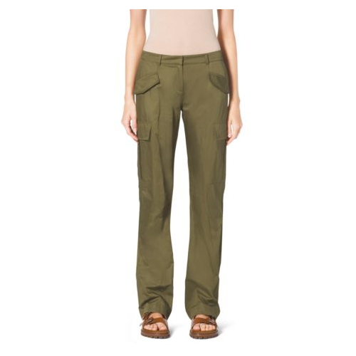 MICHAEL KORS COLLECTION Crushed-Cotton Cargo Pants JUNIPER