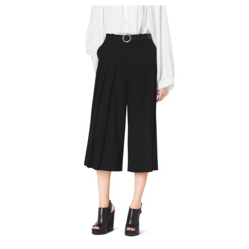MICHAEL KORS COLLECTION Pleat-Front Wool Culottes BLACK