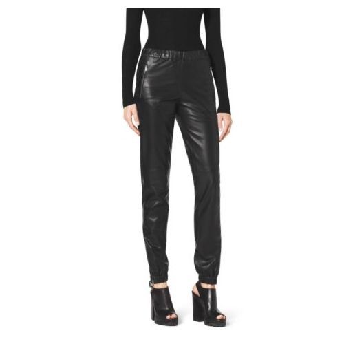 MICHAEL KORS COLLECTION Leather Track Pants BLACK