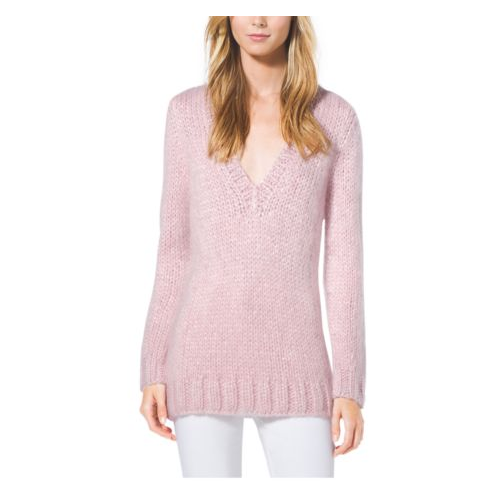 MICHAEL KORS COLLECTION Hand-Knit Mohair V-Neck Sweater OLEANDER