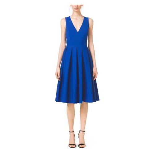MICHAEL KORS COLLECTION Pleated Cotton-Poplin Dress  COBALT