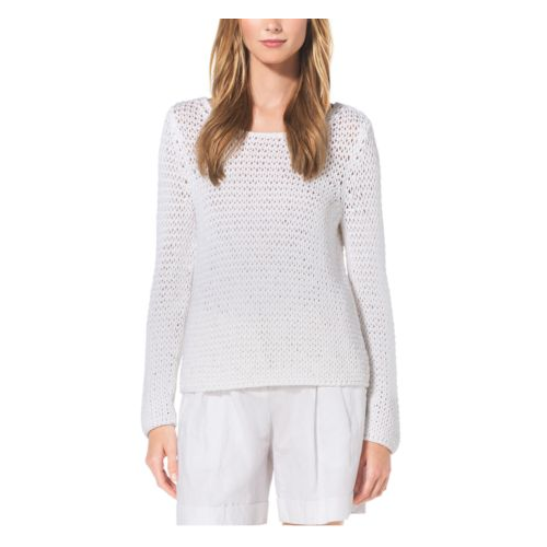 MICHAEL KORS COLLECTION Hand-Crocheted Cotton Sweater OPTIC WHITE