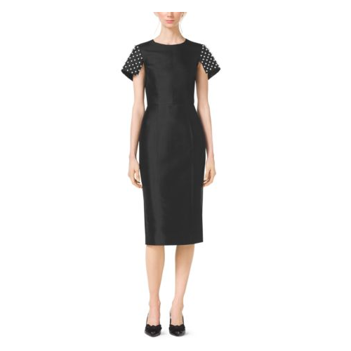 MICHAEL KORS COLLECTION Pearl-Embroidered Silk And Wool Shantung Sheath Dress BLACK
