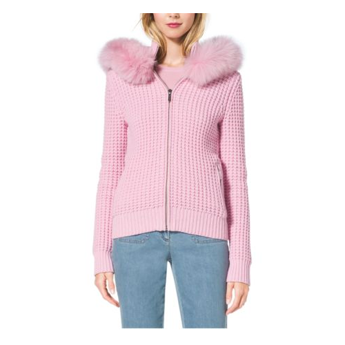 MICHAEL KORS COLLECTION Fox-Trimmed Cotton And Cashmere Hoodie OLEANDER