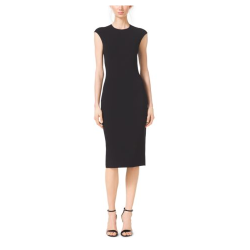 MICHAEL KORS COLLECTION Stretch Wool-Crepe Cap-Sleeve Sheath Dress BLACK