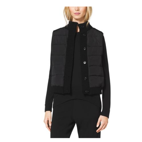 MICHAEL KORS COLLECTION Button Puffer Vest BLACK