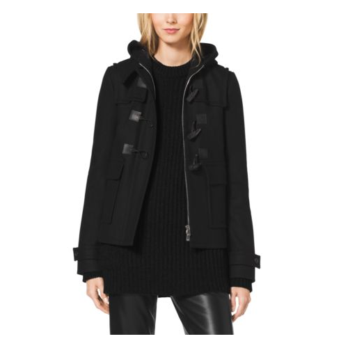 MICHAEL KORS COLLECTION Melton-Wool Toggle Coat BLACK