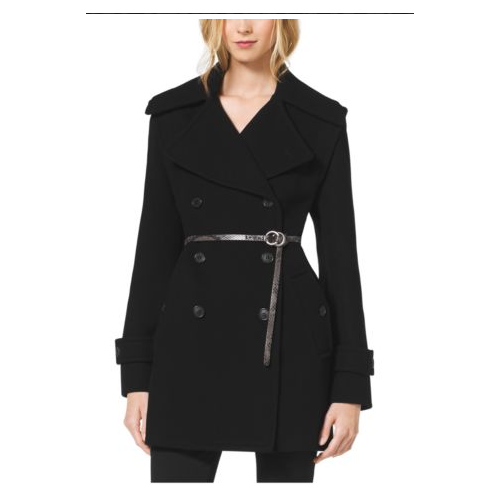 MICHAEL KORS COLLECTION Melton-Wool Convertible Peacoat BLACK