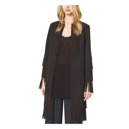 MICHAEL KORS COLLECTION Suede Fringe Coat CHOCOLATE
