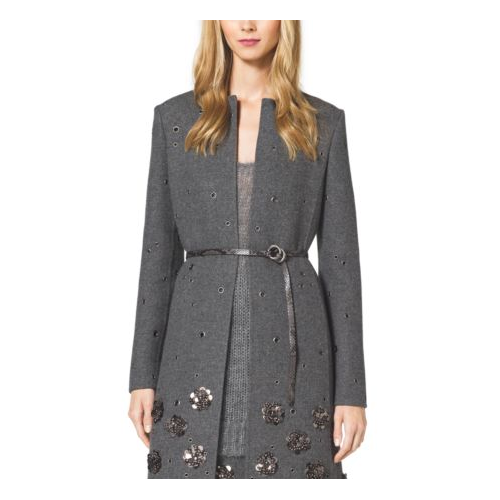 MICHAEL KORS COLLECTION Embellished Shetland Wool A-Line Coat BANKER GREY