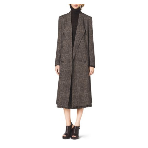 MICHAEL KORS COLLECTION Smudged Glen Plaid Coated-Wool Coat CHOCOLATE