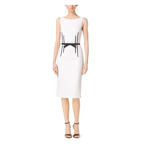 MICHAEL KORS COLLECTION Boatneck Stretch Bouclé-Crepe Sheath Dress WHITE