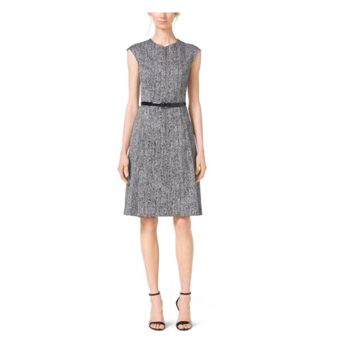 MICHAEL KORS COLLECTION Herringbone-Print Cap-Sleeve Sateen Dress OPTIC WHITE/BLK