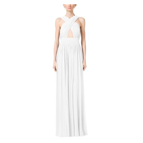 MICHAEL KORS COLLECTION Cross-Front Cutout Tissue Matte-Jersey Gown OPTIC WHITE