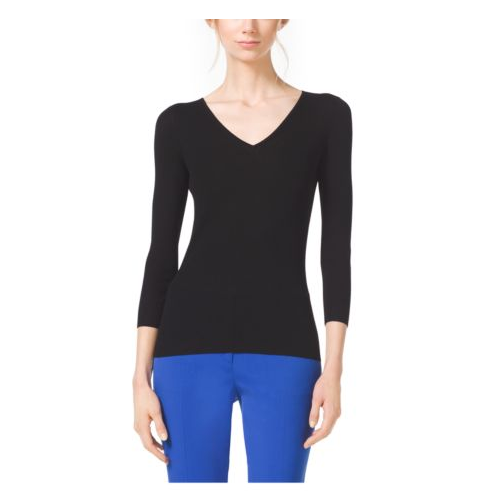 MICHAEL KORS COLLECTION Featherweight Cashmere V-Neck Sweater BLACK
