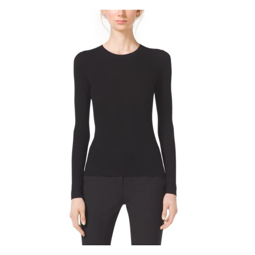 MICHAEL KORS COLLECTION Featherweight Cashmere Crewneck Top BLACK