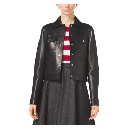 MICHAEL KORS COLLECTION Bonded Plongé Jacket BLACK