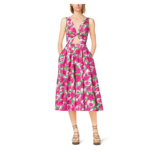MICHAEL KORS COLLECTION Peony-Print Cotton-Poplin Tie-Front Dress OP WHITE/GERANIUM