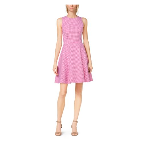 MICHAEL KORS COLLECTION Gingham Wool Dance Dress GERANIUM