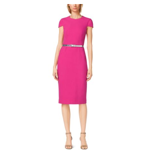 MICHAEL KORS COLLECTION Belted Cotton-Crepe Sheath Dress GERANIUM