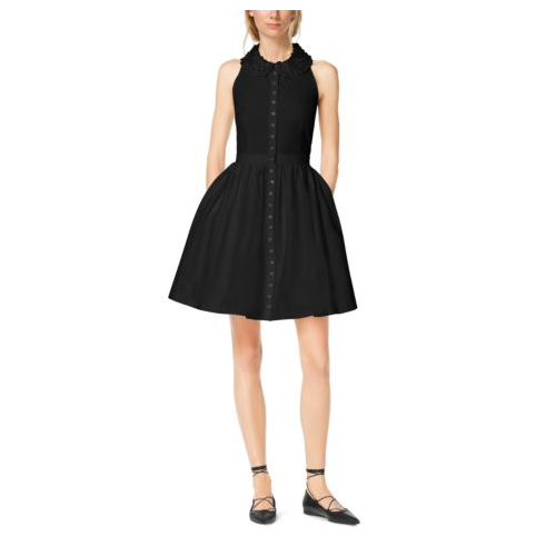 MICHAEL KORS COLLECTION Embroidered Cotton-Poplin Shirtdress BLACK