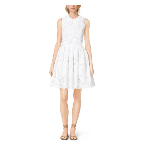 MICHAEL KORS COLLECTION Floral Fil Coupé Dance Dress OPTIC WHITE