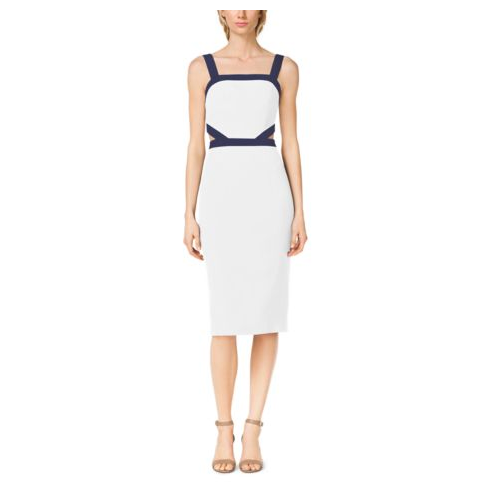 MICHAEL KORS COLLECTION Double-Crepe Sable Cutout Dress OPTIC WHITE