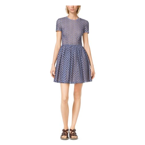MICHAEL KORS COLLECTION Lattice-Embroidered Gingham Dress INDIGO/WHITE