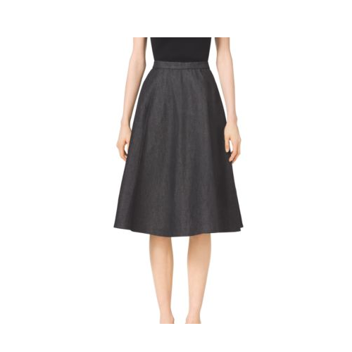 MICHAEL KORS COLLECTION Seamed Flare Denim Skirt BLACK